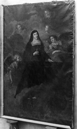 Tableau : sainte Jeanne de Chantal, huile sur toile, et son cadre partiel, 17e siècle