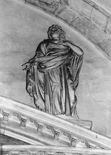 Statue : saint Jean, pierre, par Thibault Poissant mort en 1668, vue de dessous