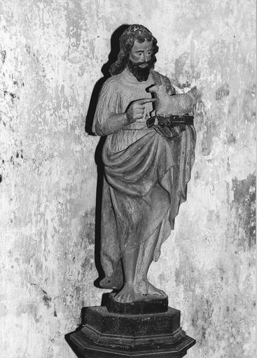Statue : saint Jean Baptiste tenant l'agneau, bois polychrome, 17e siècle