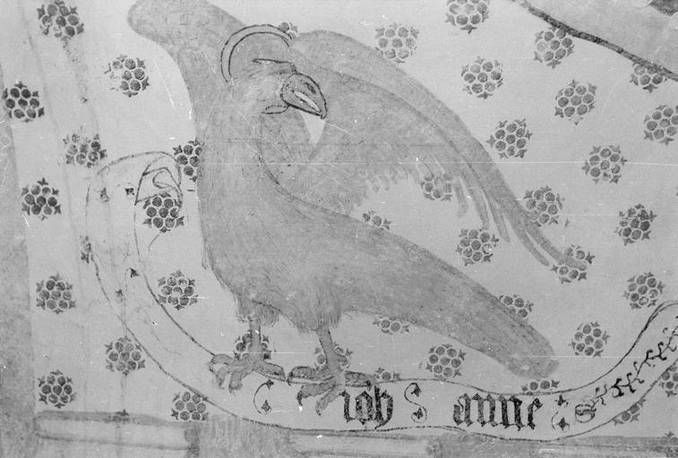 Peinture monumentale, fin 12e à fin 14e siècle, l'aigle de l'évangéliste Jean, bas-côté Sud, après restauration