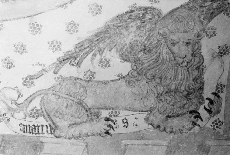 Peinture monumentale, fin 12e à fin 14e siècle, le lion de l'évangéliste Marc, bas-côté Nord, après restauration