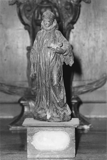 Statuette-reliquaire appartenant à un ensemble de quatre éléments, représentant saint Benoît, vue de face