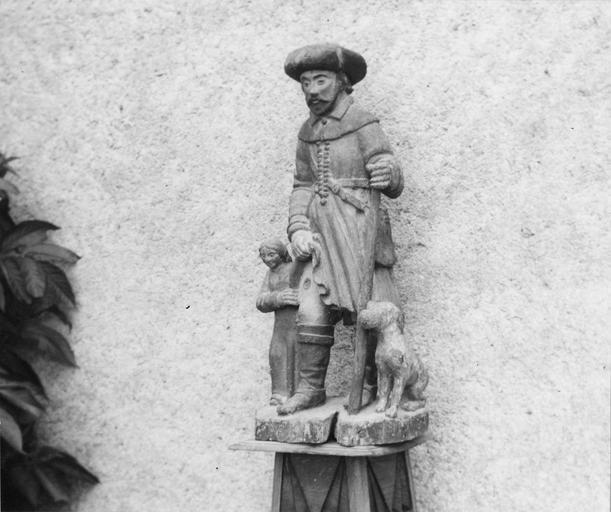 Statue : saint Roch, bois polychrome, 16e siècle, vue par la droite