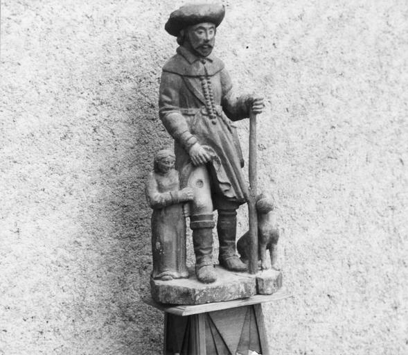 Statue : saint Roch, bois polychrome, 16e siècle, vue par la gauche