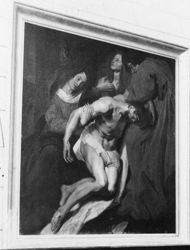 Tableau : La Déposition de croix, huile sur toile, 17e siècle, copie d'un tableau de Van Dyck conservé à Oxford