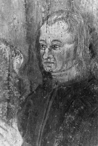 Peinture monumentale, 15e siècle, sur les piliers de la nef, représentation d'un homme tenant une coupe, flanqué d'un personnage, peut-être un donateur, en prière, détail du visage du donateur