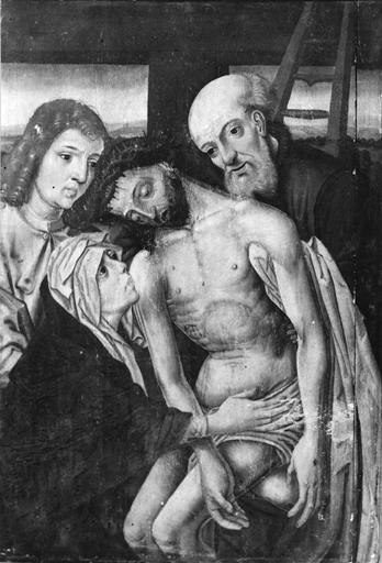 Tableau : La Descente de croix, panneau peint, début 16e siècle