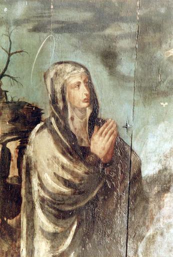 Tableau : Le Christ entre la Vierge et saint Jean, panneau peint sur bois, 16e siècle, provenant du maître autel, détail de la figure de la Vierge