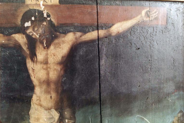 Tableau : Le Christ entre la Vierge et saint Jean, panneau peint sur bois, 16e siècle, provenant du maître-autel, détail du buste du Christ en croix