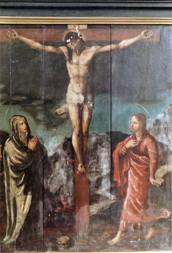 Tableau : Le Christ entre la Vierge et saint Jean, panneau peint sur bois, 16e siècle, provenant du maître-autel