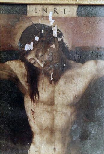 Tableau : Le Christ entre la Vierge et saint Jean, panneau peint sur bois, 16e siècle, provenant du maître-autel, détail du visage du Christ