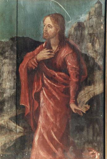 Tableau : Le Christ entre la Vierge et saint Jean, panneau peint sur bois, 16e siècle, provenant du maître-autel, détail de la figure de saint Jean