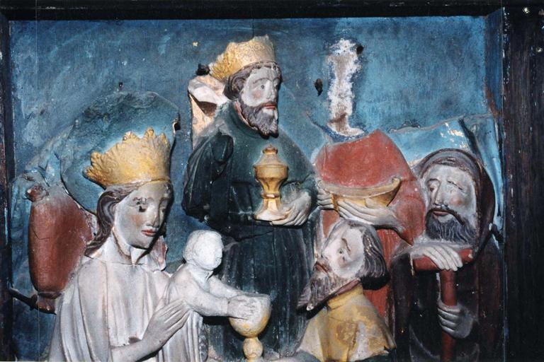 Bas-relief : L'Epiphanie, albâtre anglais polychrome, 14e siècle, vue de face