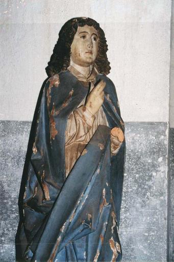 statue : L'Ange de l'Annonciation, l'archange Gabriel, bois polychrome, 15e siècle, vuede face