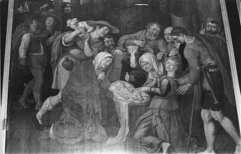 Tableau : L'Adoration des bergers, huile sur toile, 16e-17e siècles, détail de la sainte famille et des bergers
