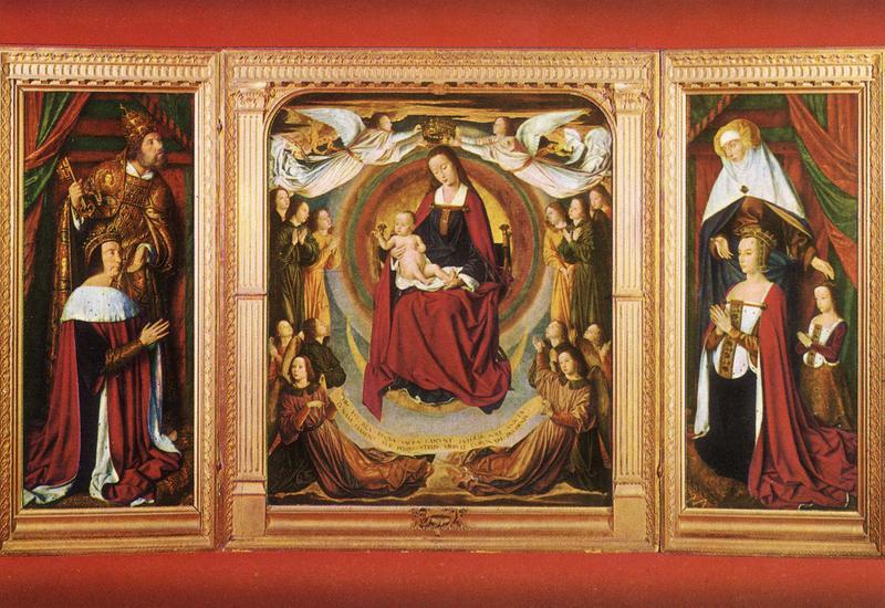 Tableau (triptyque) dit du maître de Moulins : Vierge et l'Enfant entre Pierre II duc de Bourbon et Anne de Beaujeu sa femme (la)