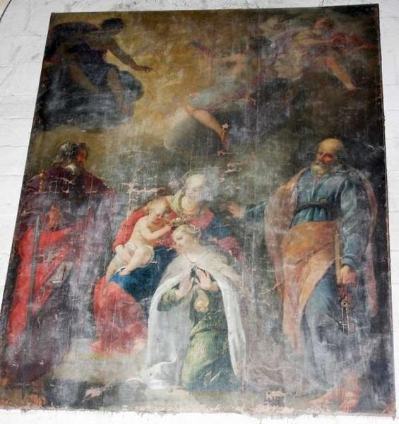 Tableau et son cadre : Vierge à l'enfant couronnant une sainte et entourés de saint Pierre et saint Paul