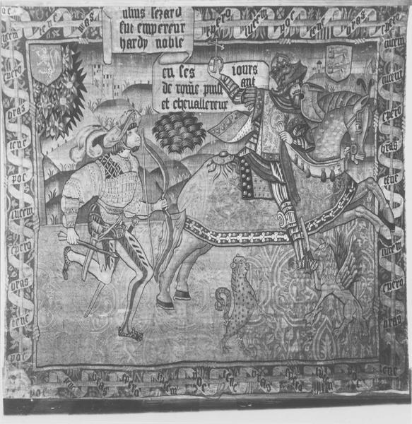 pièce murale : tenture des Preux, détail de la tenture de Jules César