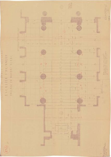 Plan du dallage en marbre blanc de l'escalier d'honneur