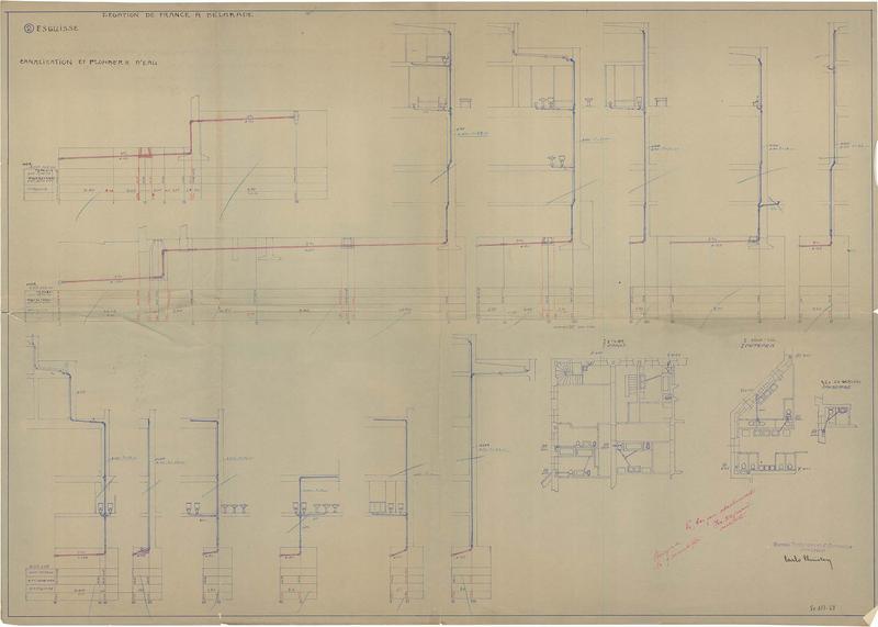 Plans des canalisations et de la plomberie d'eau, esquisse, sous-sol
