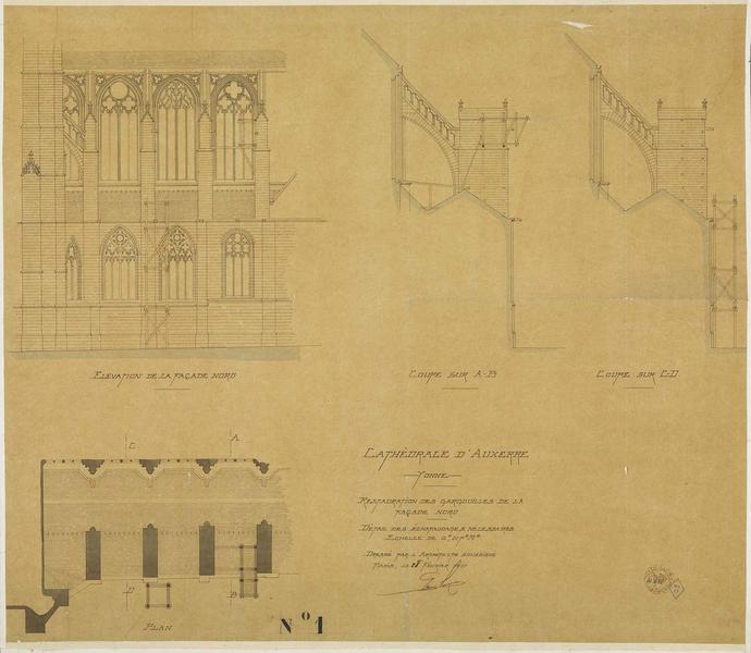 Restauration des gargouilles de la façade nord, détail des travaux nécessaires, coupes sur AB et CD, plan, élévation de la façade