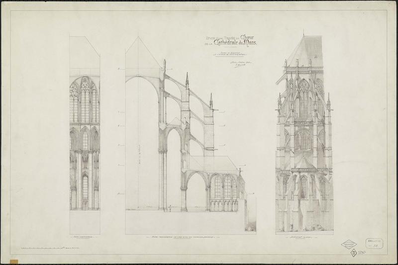 Coupe longitudinale, coupes transversales sur l'aile et les chapelles absidiales, élévation au nord