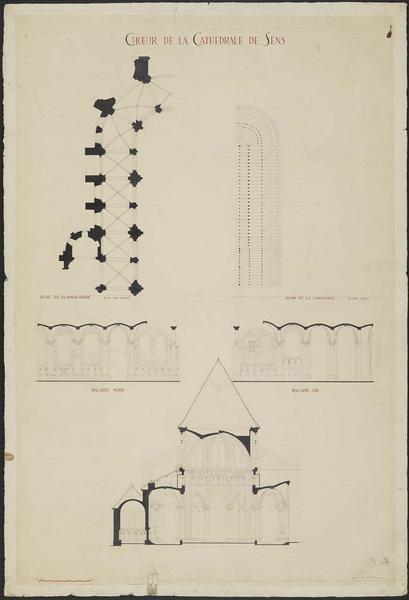 Plan du déambulatoire, plan de la charpente, coupes, coupe transversale du choeur