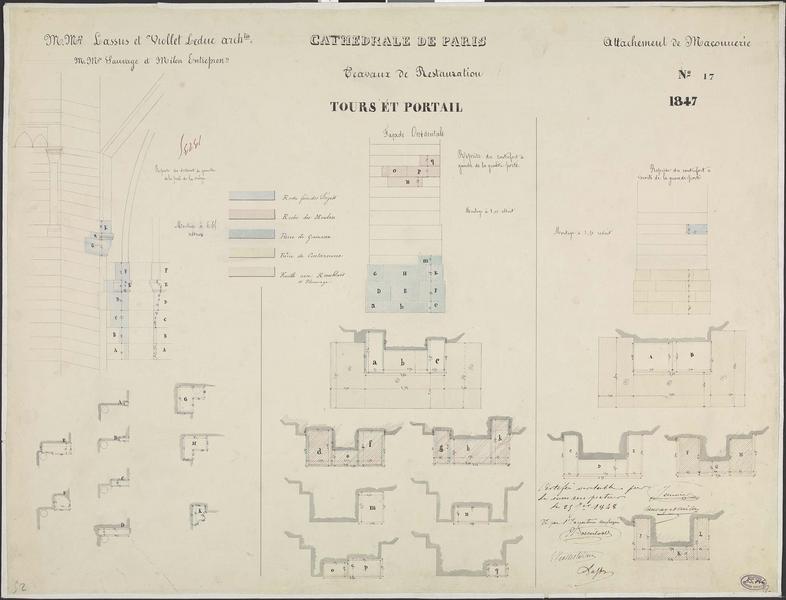 Attachements de maçonnerie : Restauration du contrefort à gauche du portail de la façade occidentale