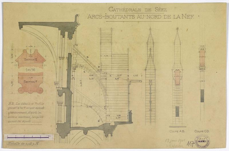Restauration du bas-côté nord : détails des arcs-boutants nord, plan, coupe, élévation côtée