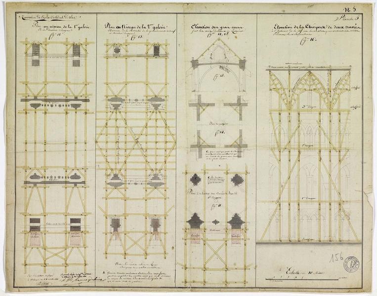 Réparation de la cathédrale : plan au niveau de la première galerie, plan au niveau de la deuxième galerie, élévation du gros mur, élévation de la charpente des deux travées