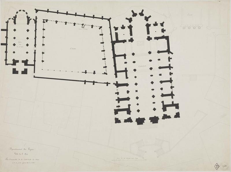 Plan d'ensemble de la cathédrale, du cloître et de la petite église de Saint-Dié