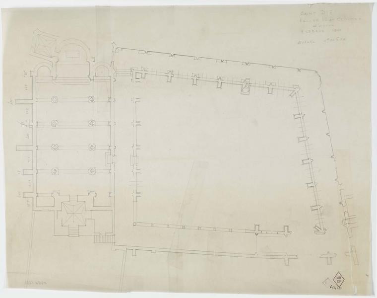 Plan du cloître de l'église Notre-Dame