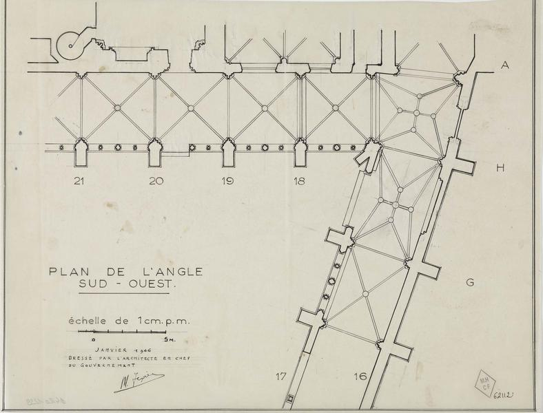 Plan de l'angle sud-ouest