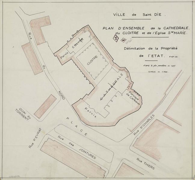 Plan d'ensemble de la cathédrale, du cloître et de l'église de Sainte-Marie. Délimitation de la propriété d'État