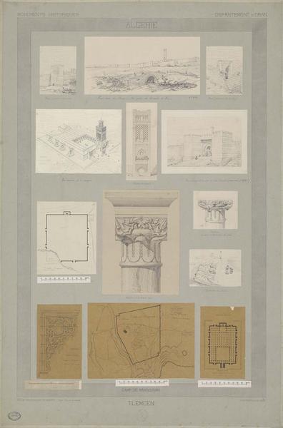 Vues de différents édifices. Détails de chapiteaux et plans