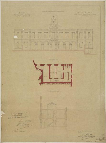 Projet de maitrise pour la cathédrale. Elévation principale sur la cour d'entrée. Plan du sous-sol. Coupe transversale