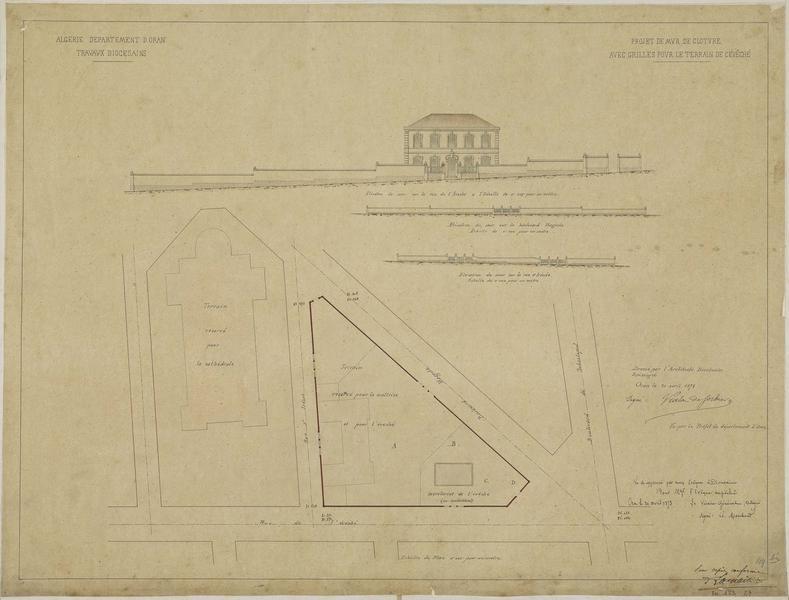 Projet de mur de clôture avec grilles pour le terrain de l'évêché. Plan et élévation