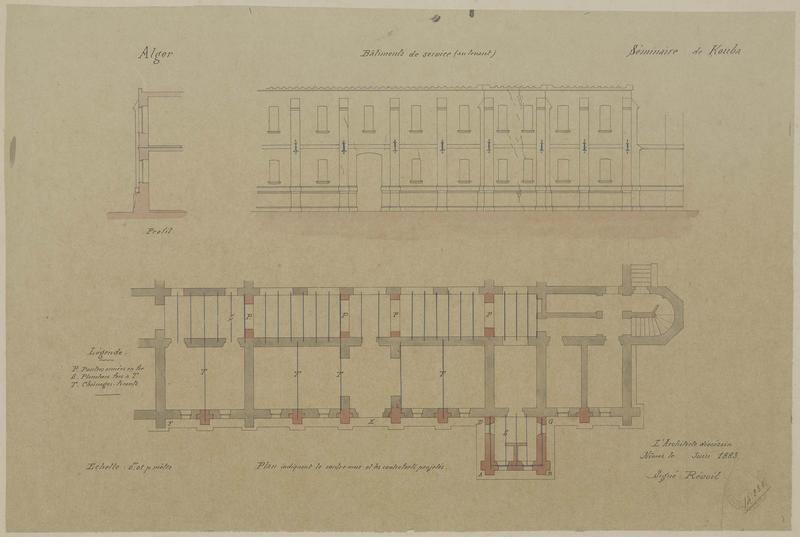 Plan indiquant le contre-mur et les contreforts projetés. Elévation des bâtiments de service, au levant, coupe