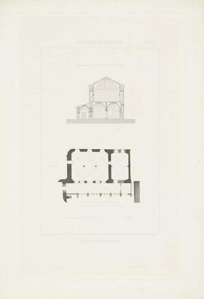 Coupe transversale et plan de la salle capitulaire du cloître
