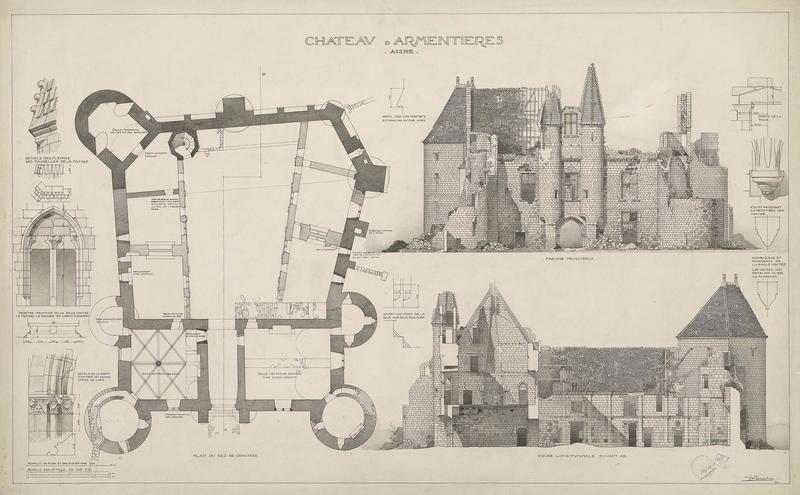 Plan du rez-de-chaussée de l'édifice. Élévation de la façade principale. Coupe longitudinale. Détails d'architecture. État actuel