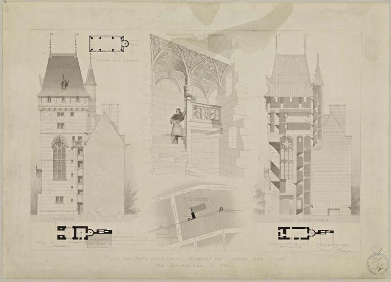 Coupe longitudinale. Perspective de l'escalier. Élévation Plan de situation. Plan de l'étage de la défense. Plans des 1e, 2e et 3e étages
