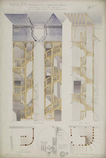 Élévations et coupe ABCD. Plans du rez-de-chaussée et au dernier étage. Vue en arrachement montrant le noyau de l'escalier au droit d'un palier