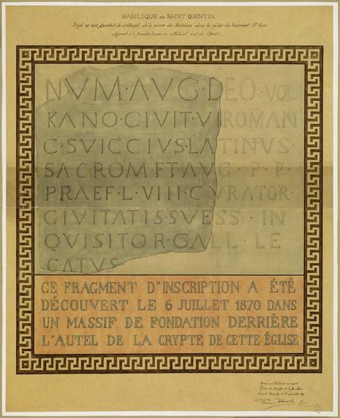 Projet en vraie grandeur de scellement de la pierre de Suiccius dans le pilier du transept Sainte-Anne adjacent à la première travée du collatéral sud du choeur