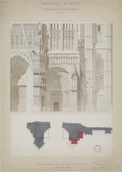 Restauration de la façade ouest : élévation et plan du portail Saint-Étienne