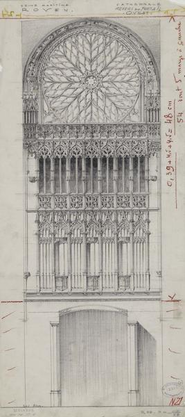 Élévation du revers du portail ouest