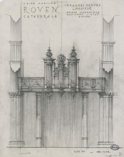 Grand orgue : relevé schématique avec restitution de l'état ancien, élévation du positif, élévation du grand buffet, coupe transversale