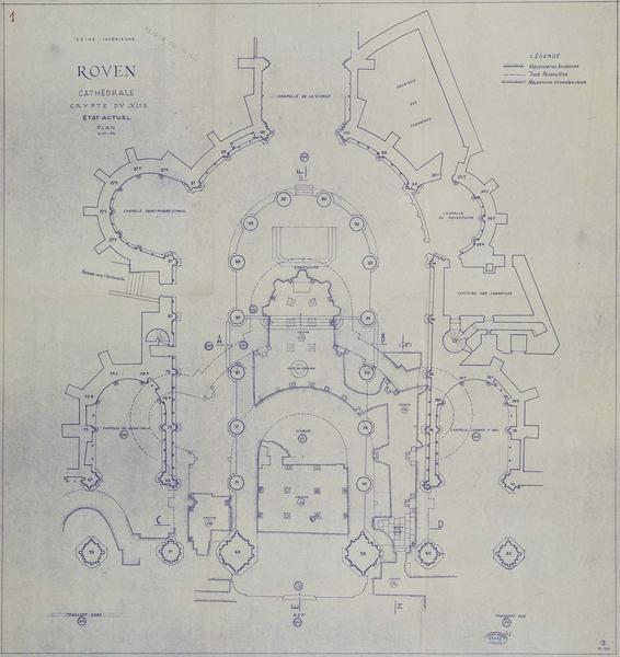 Crypte : plan de la crypte du XIème siècle, état actuel