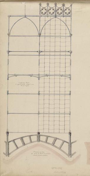 Armature en fonte qui porte la ferme intermédiaire entre la porte et les contreforts
