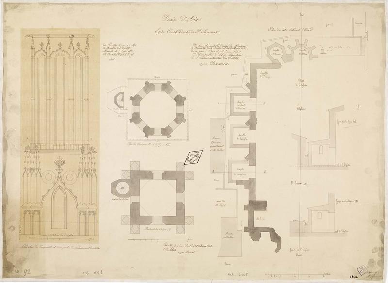 Plan du côté latéral nord. Élévation du campanile et d'une partie du soubassement du clocher. Plans du clocher. Coupes