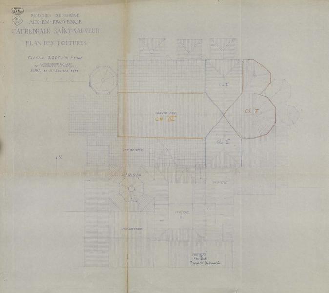Plan des toitures avec indication des chapitres de travaux